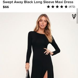 Lulus Swept Away Longsleeve Black Maxi
